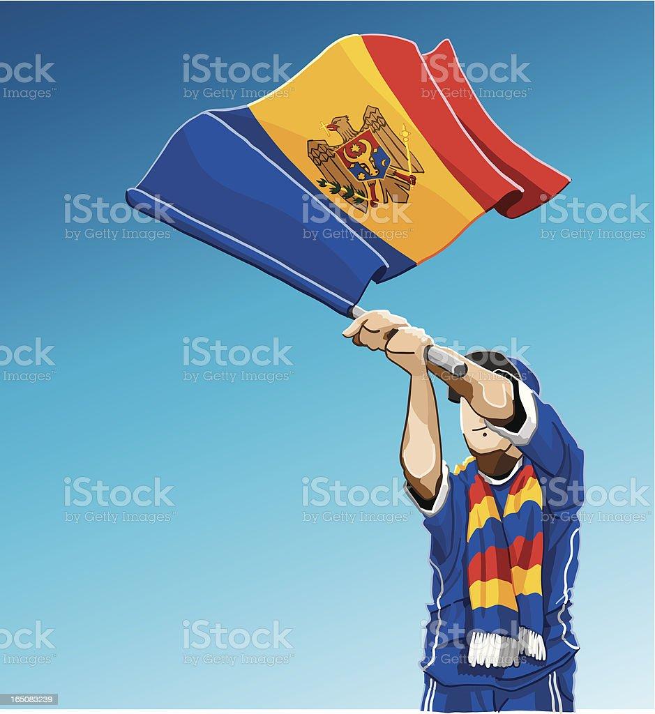 Moldova Waving Flag Soccer Fan vector art illustration