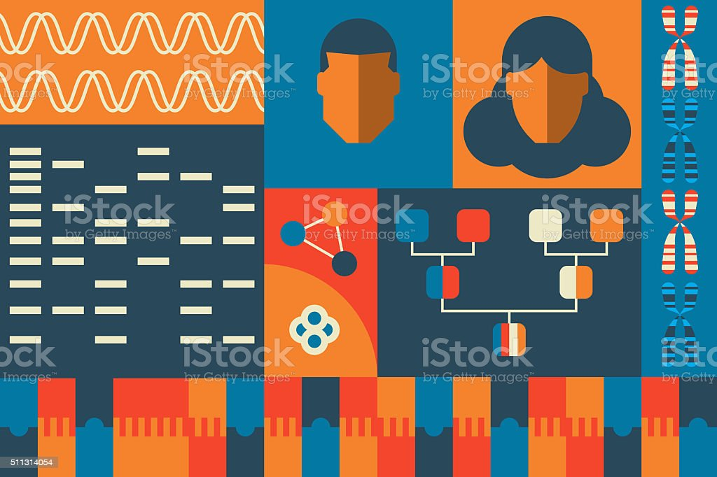 Molecular biology laboratory concept vector art illustration