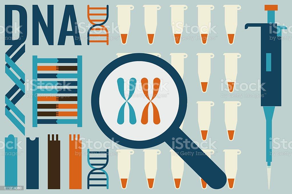 Molecular biology laboratory concept vector art illustration