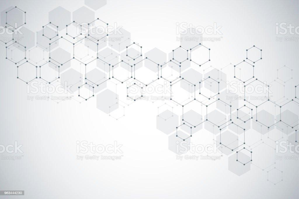 Moleküler yapısı arka plan. Molekülün DNA ile arka plan - Royalty-free Altıgen Stock Illustration