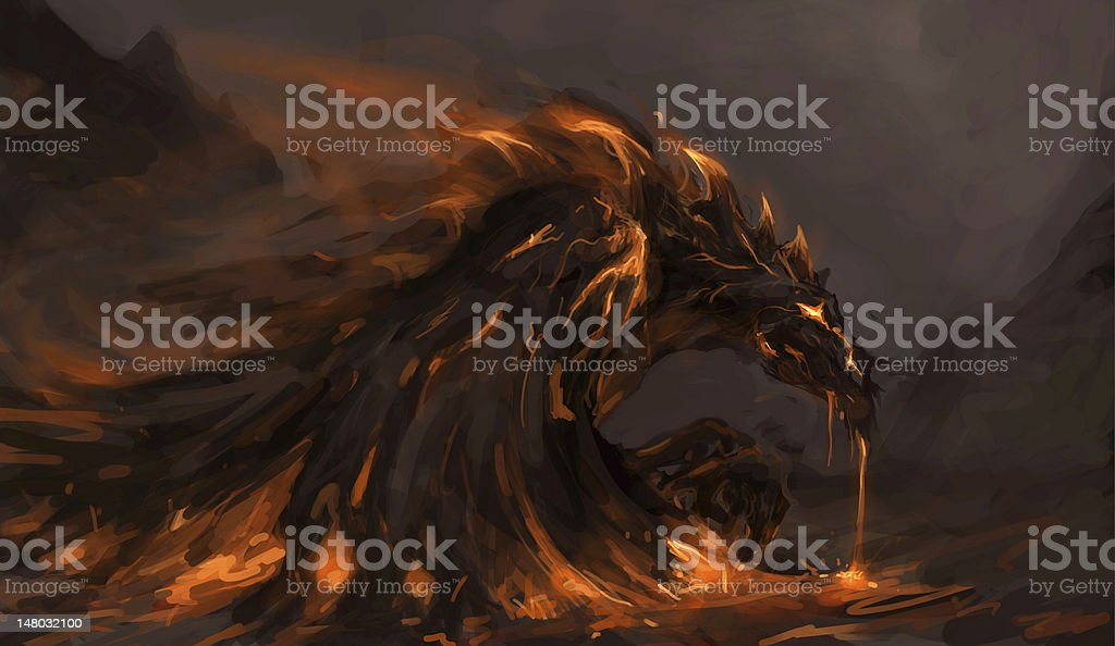 molten dragon vector art illustration