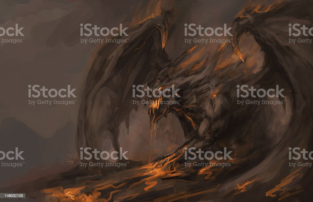 molten roch dragon vector art illustration