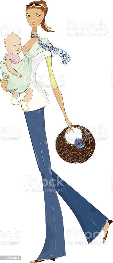 Mom and baby carrier royalty-free mom and baby carrier stock vector art & more images of 18-23 months