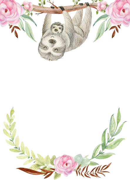 Mom and baby. Baby shower cards. Watercolor sloth mom and baby. baby sloth stock illustrations