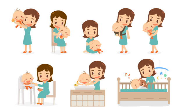 Mom and Baby. Mom and baby in various actions. vector art illustration