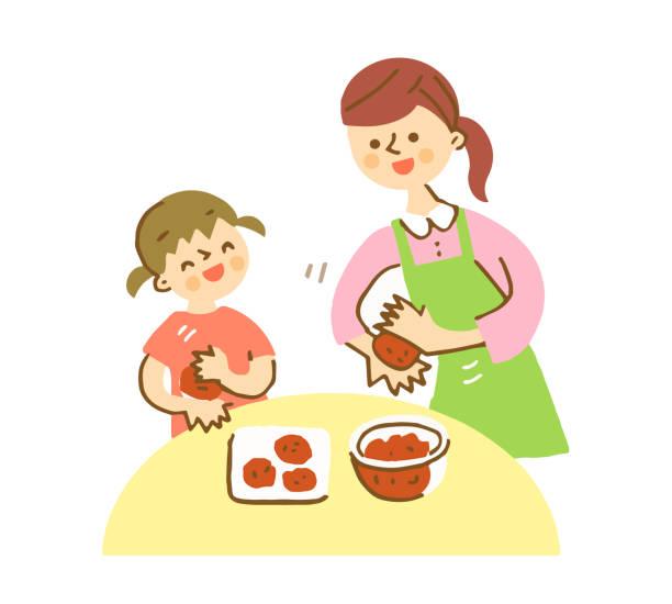 illustrazioni stock, clip art, cartoni animati e icone di tendenza di mom and girl cooking together in the kitchen - two students together asian