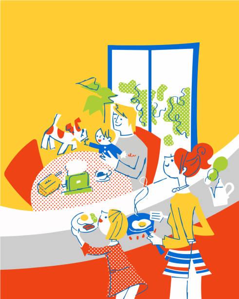 朝食の準備をするママと彼女の家族 - 家族 日本人点のイラスト素材/クリップアート素材/マンガ素材/アイコン素材