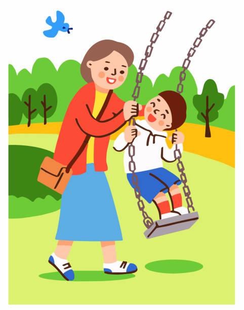 illustrazioni stock, clip art, cartoni animati e icone di tendenza di mom boy playing with a swing in the park - two students together asian