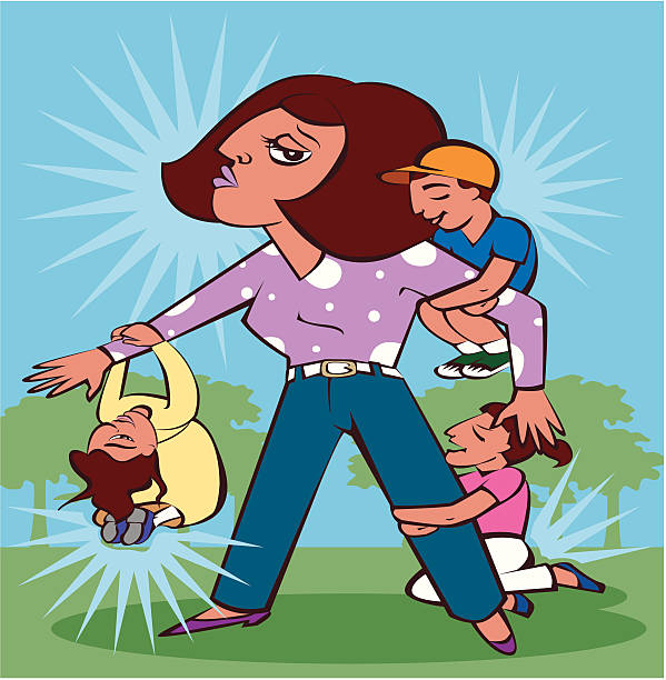 Mom or teacher with children vector art illustration