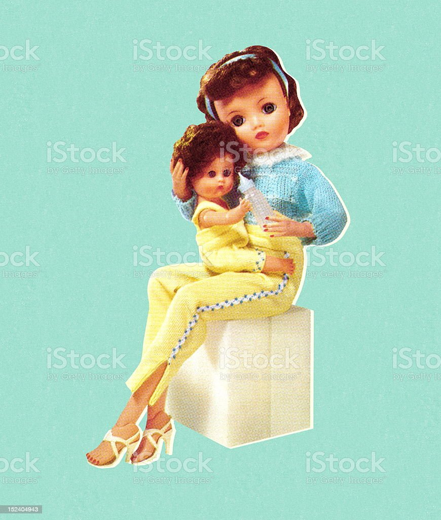 Mommy Doll Holding Baby Doll vector art illustration