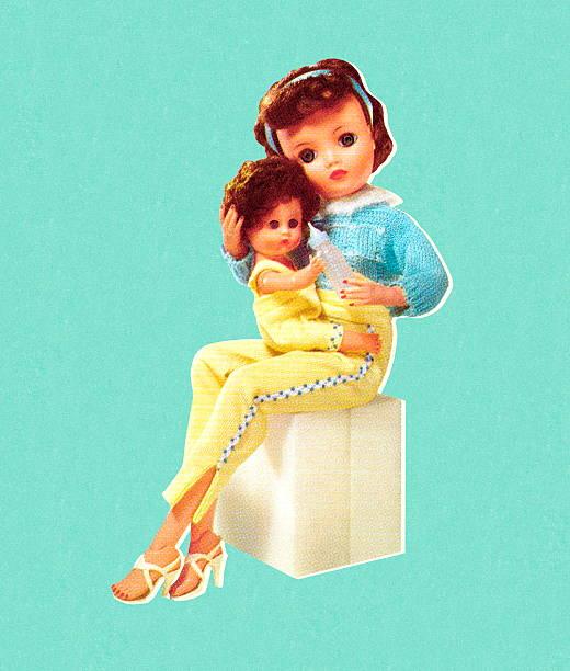 Muñeca retención Mommy Baby Doll - ilustración de arte vectorial