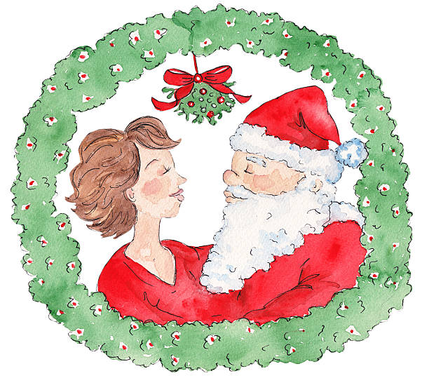 mommy kissing santa claus - old man kissing stock illustrations, clip art, cartoons, & icons