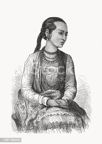 A Mon girl. The Mon are a major ethnic group in Myanmar and a minor ethnic group in Thailand. Wood engraving, published in 1893.