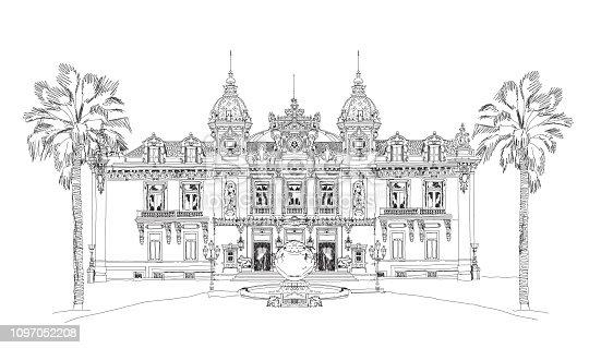 Monaco Grand Casino. Monte Carlo. Sketch collection.