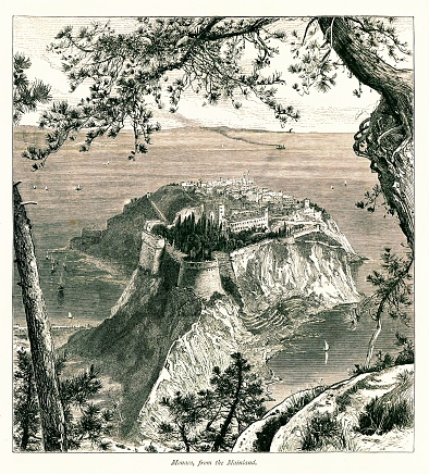 Monaco on the French Riviera. Engraving published in Picturesque Europe, Vol. III (Cassell & Company, Limited, 1875).