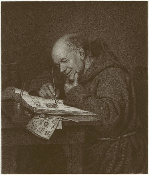 Monastery genius, Lithograph, published in 1873 A monastery genius – by Carl Bertling (German painter, 1835-1918). Lithograph, published in 1873. friar stock illustrations