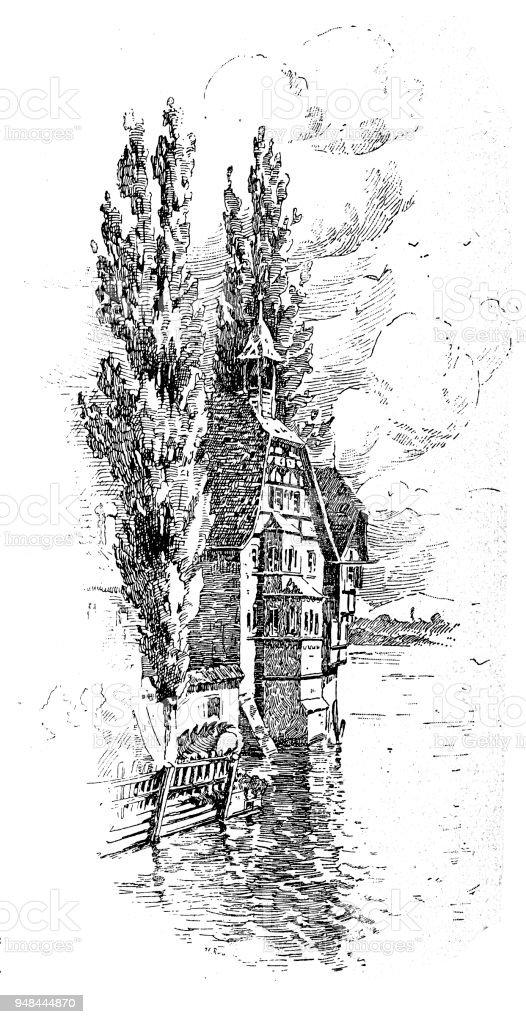 Monastère de St. Georg près de Stein am Rhein - Illustration vectorielle