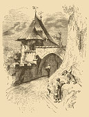 Illustration of a Monchsberg Fortifications in Salzburg, Austria.