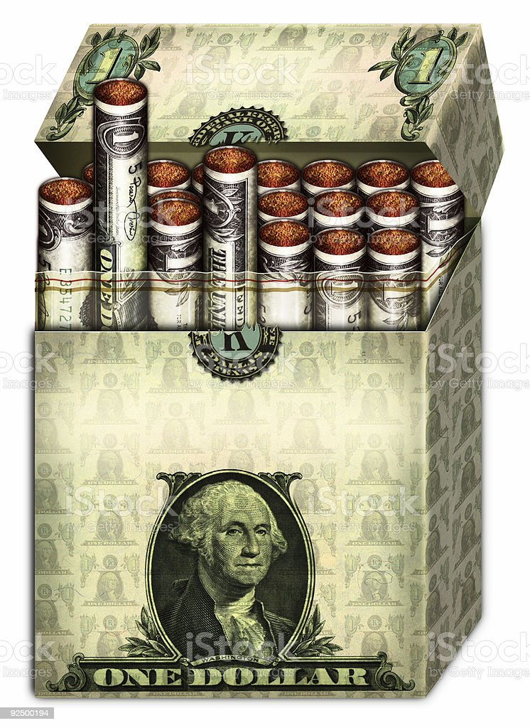 Money Cigarettes Open Pack royalty-free money cigarettes open pack stock vector art & more images of box - container