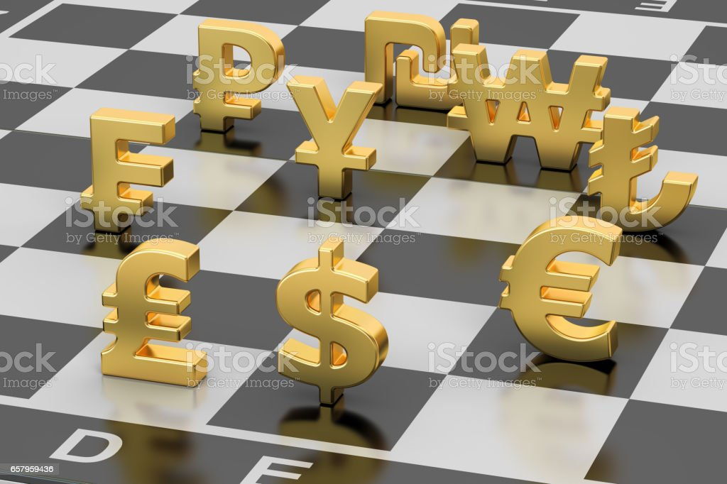 Money Concept Currency Symbols On Chess Board 3d Rendering Stock