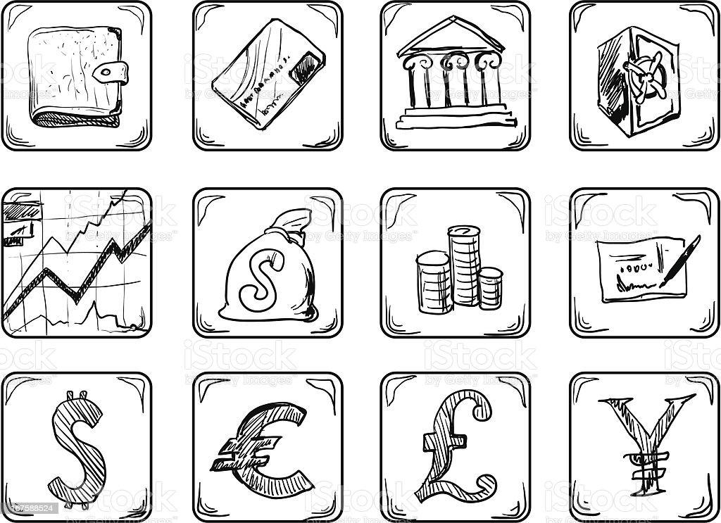 Money icons. royalty-free stock vector art