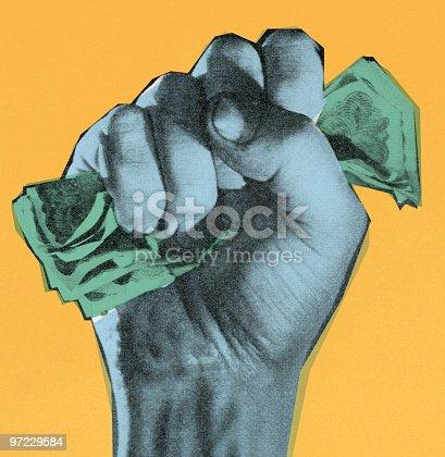 Money in fist