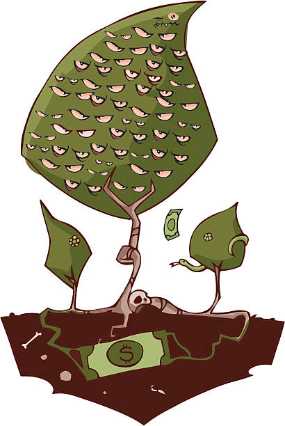 money is the root of all evil - evil money stock illustrations, clip art, cartoons, & icons