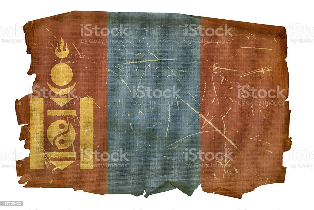 Mongolia Flag old, isolated on white background. royalty-free stock vector art