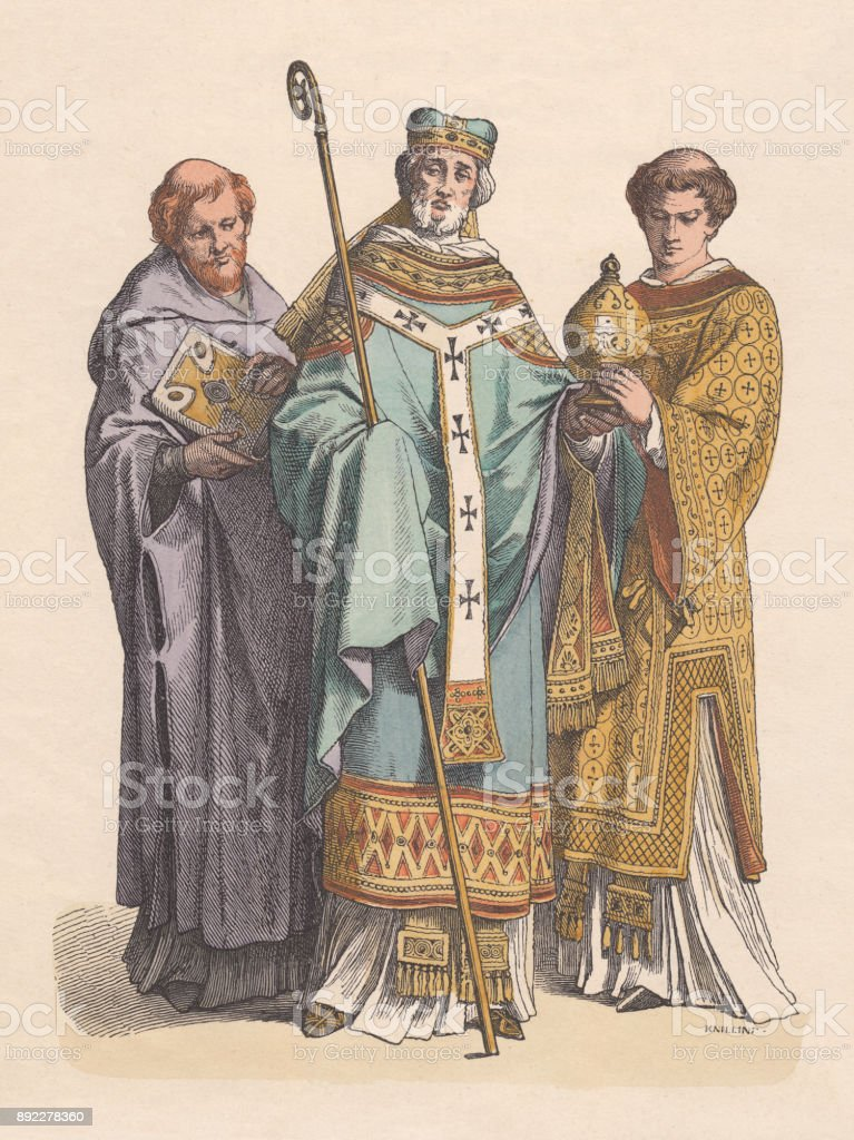 Monk, bishop, priest, 11th century, hand-colored wood engraving, published c.1880 vector art illustration