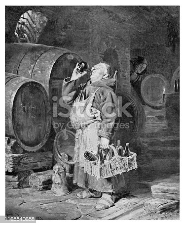 Monk drinking wine in the cellar  - Scanned 1894 Engraving