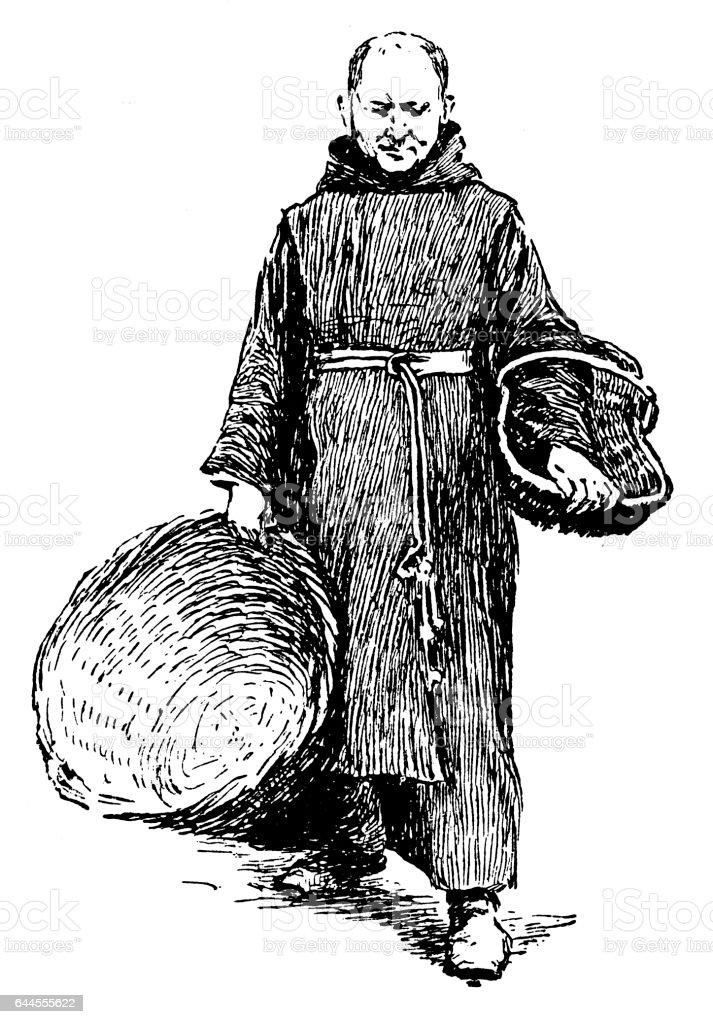Monje - ilustración de arte vectorial