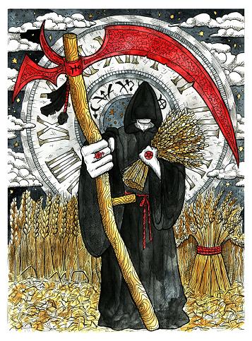 Monk in black cloak holding scythe against harvest of rye and vintage clock.