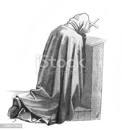 Monk in prayer in the old book La Gravure, by A. Lostalot, 1896, Paris