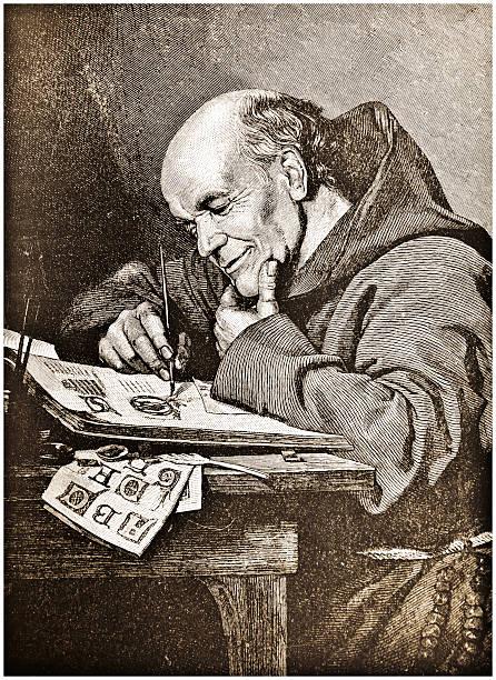 ilustraciones, imágenes clip art, dibujos animados e iconos de stock de monje iluminaciones de pintura de acero para grabado estilo victoriano - hermano