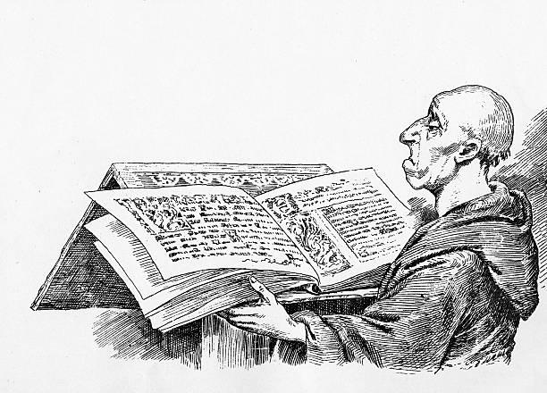 stockillustraties, clipart, cartoons en iconen met monk reading - kaal geschoren hoofd