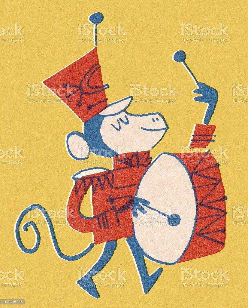 Monkey Playing Base Drum vector art illustration