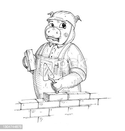 Pig dressed in the overall and construction helmet holding brick and trowel. Vintage monochrome hatching illustration isolated on white background. Hand drawn design element for t-shirt