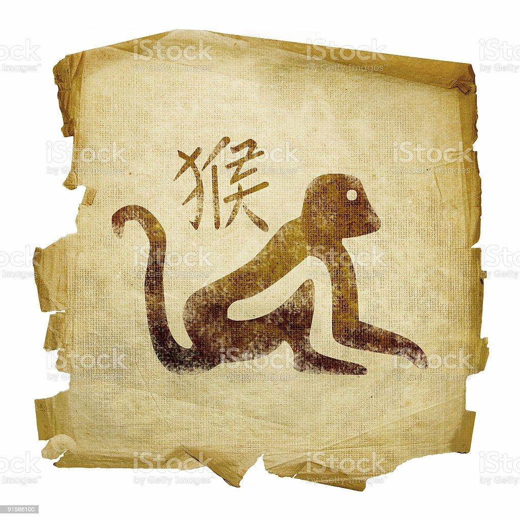 Monkey Zodiac icon, isolated on white background. royalty-free stock vector art