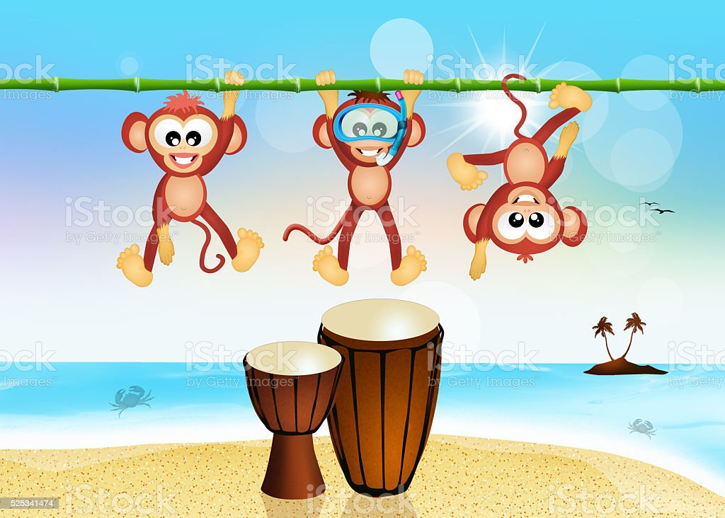 monkeys and drums on the beach vector art illustration