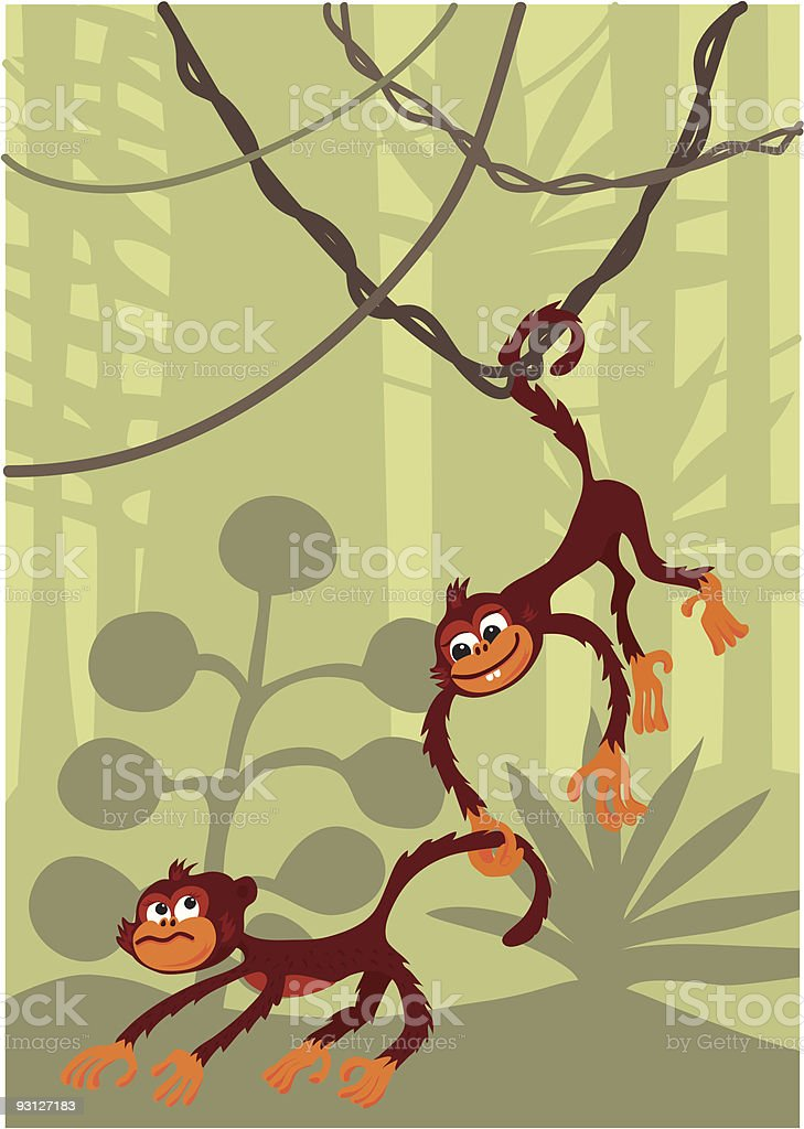 Monkeys vector art illustration