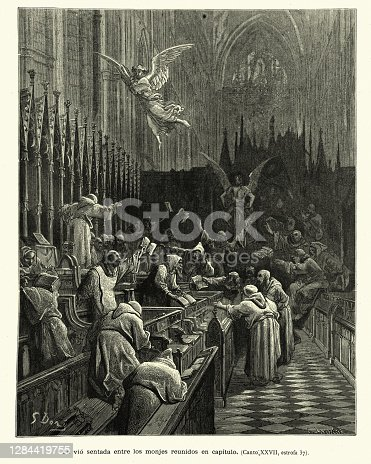 istock Monks arguing in discord while an angel and devil looks on 1284419755