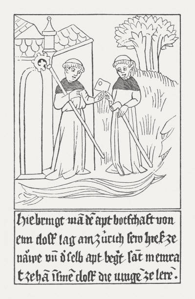 """Monks as monastic messengers (1466), wood engraving, published 1885 Monks as monastic messengers in the Middle Ages. Facsimile after a contemporary wood engraving (1466) from the """"Legend of Saint Meinrad"""" in the Library of Benedictine Einsiedeln Abbey, Switzerland, published in 1885. friar stock illustrations"""