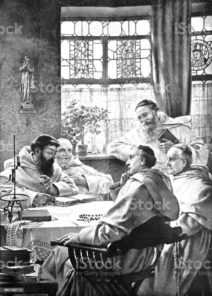 Chat de monjes alegremente en una mesa redonda - ilustración de arte vectorial