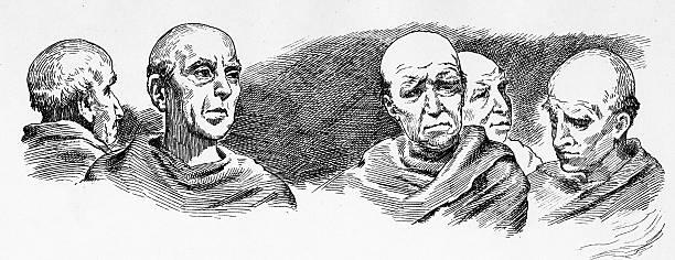 Monks vector art illustration