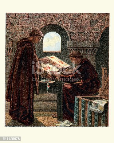 Vintage engraving of Monks writing the Domesday Book. Domesday Book is a manuscript record of the Great Survey of much of England and parts of Wales completed in 1086 by order of King William the Conqueror.