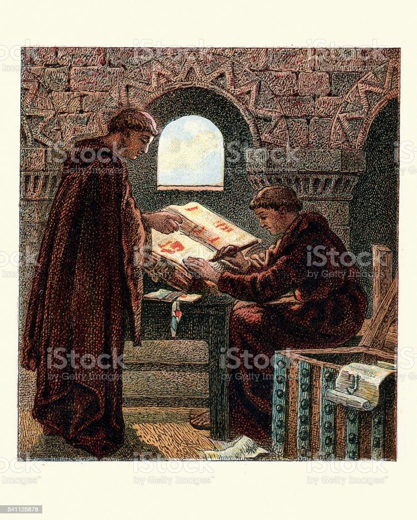 Monjes escrito el domesday libro - ilustración de arte vectorial