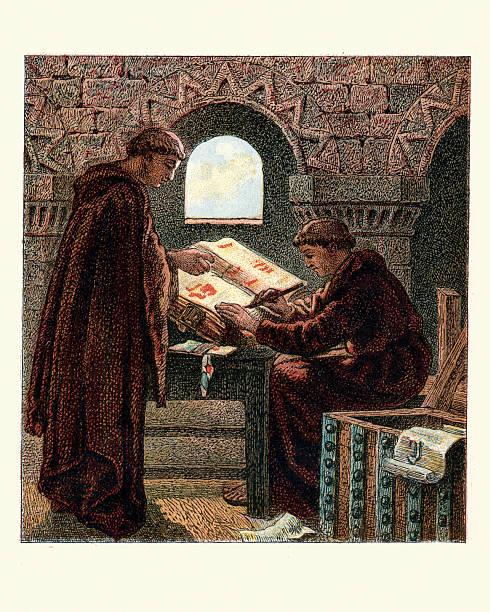 ilustraciones, imágenes clip art, dibujos animados e iconos de stock de monjes escrito el domesday libro - hermano