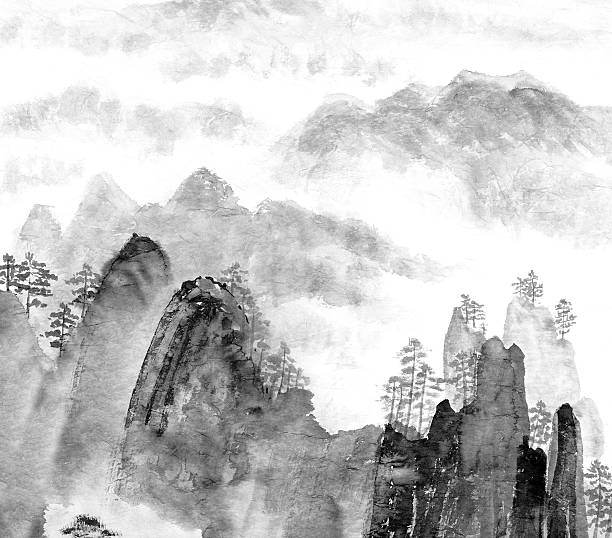 monochrome painting of chinese mountain scene - black and white mountain stock illustrations, clip art, cartoons, & icons