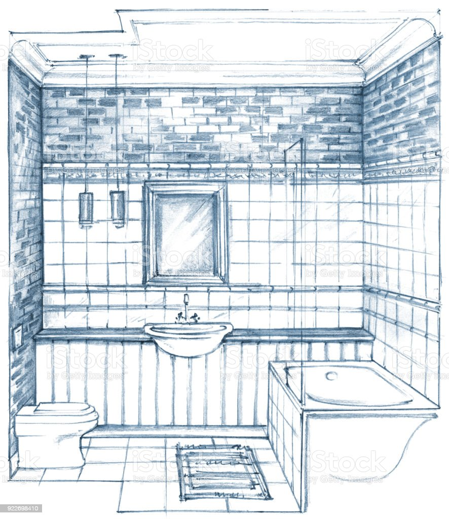 Monochrome Pencil Drawing Of A Classic Bathroom Interior Stock Illustration  - Download Image Now