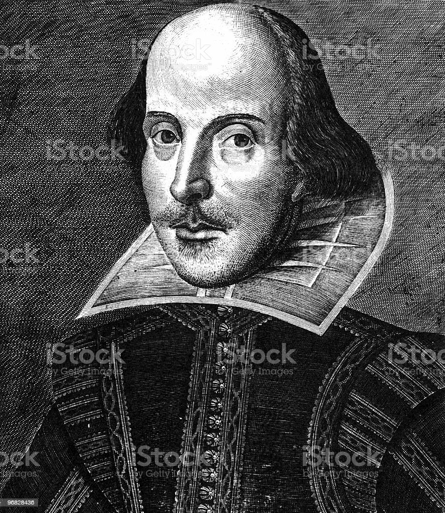 Monochrome portrait sketch of William Shakespeare vector art illustration
